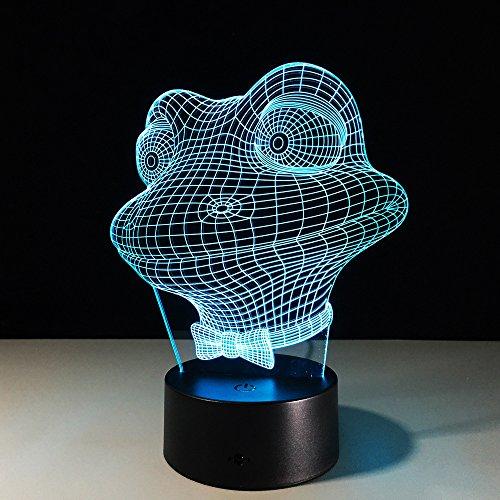 Hai USB Tischlampe Nachtlichter 3D Hund 7 Farben Wechselnden lampe Frosch Jahr Geschenk Für Kinder Geschenk Souvenir Frosch Eine Größe ()