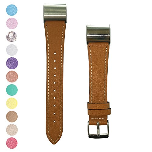 Fitbit Charge 2 Replacement Soft Genuine Calf Leather Watchband IFeeker Accessory Leather Classic Wrist Strap Band Bracelet For Fitbit Charge 2 Heart Rate And Fitness Wrist Band With Metal Connectors