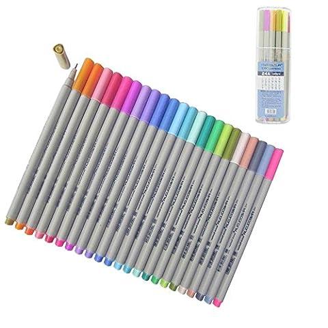 Yosoo 24Pcs 0.3MM Multi Colors Colorful Gel Ink Pen Sketch