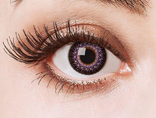 aricona Kontaktlinsen Farblinsen  N°564 - Farbige 12-Monats Kontaktlinsen Paar ohne Stärke, weich und angenehm zu tragen, Wassergehalt: 42%, Wild Ornaments, Farbe:Rose - Puppe Kleidung Muster