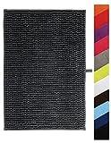 MSV Badteppich Badvorleger Duschvorleger Chenille Hochflor Badematte 60x90 cm – Grau