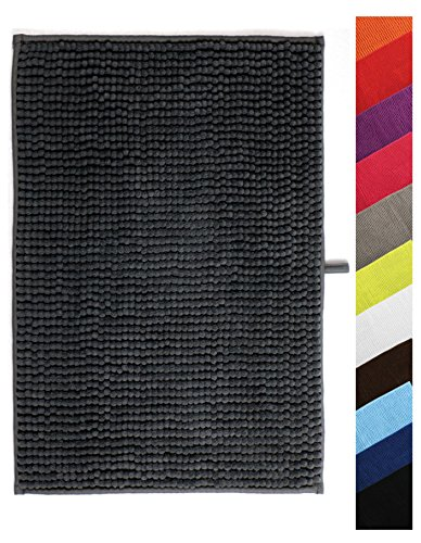 MSV Badteppich Badvorleger Duschvorleger Chenille Hochflor Badematte 60x90 cm - Grau