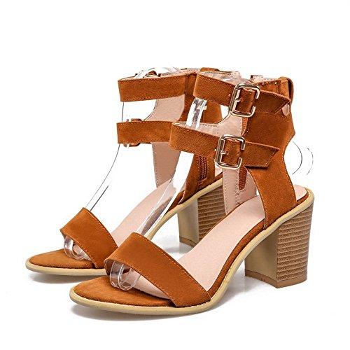 balamasa Mesdames Chunky talons sandales style givré ROMANES Marron