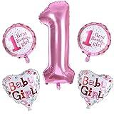Vovotrade Geburtstag Dekoration Aufblasbar Helium Folie Ballons,Happy Birthday Baby Girl Boy Mädchen 1. Geburtstag Party Luftballons Set Supplies, Party Dusche Foto Requisiten (Rosa)