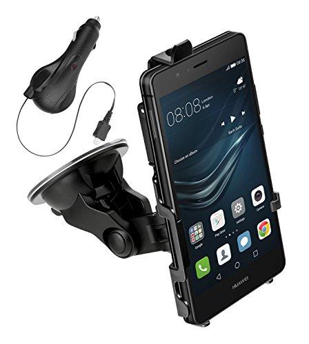 yayago KFZ Halterung 360 Grad drehbar für Huawei P9 Lite - Halter AutoHalterung + yayago Kfz Ladekabel mit Aufrollfunktion für Huawei P9 Lite
