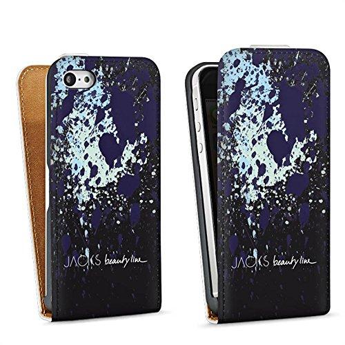 Apple iPhone 5s Housse Étui Protection Coque Tache noire Tache de couleur Motif Sac Downflip blanc