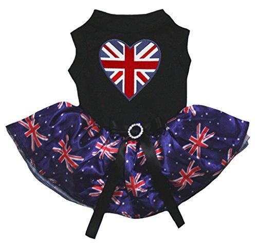 Queen Hearts Kostüm Großbritannien Of - petitebelle Puppy Kleidung Kleid British Heart schwarz Top UK Flagge Blau Tutu