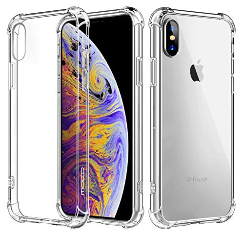 Moko iphone xs 2018 / iphone x 2017 cover - [anti scivolo & graffi] custodia halo serie rigida con tpu tecnologia angoli + pannello posteriore per iphone xs 2018 / iphone x 2017, trasparente