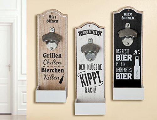 1 x Wand-Flaschenöffner Metallöffner Kronkorkensammler Der klügere Kippt nach Höhe 30 cm, Wanddeko, Wandobjekt (weiß (Stückpreis)) Höhe Der Wand