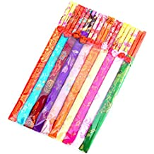 DAYNECETY 10 Pairs Reusable Chinese Chopsticks Silk Cover Bag For Wedding Gift Present Dinner Set