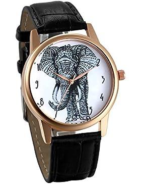 JewelryWe Damen Armbanduhr, Elegant Charm Elefant Analog Quarz Uhr Leder Band Quarzuhren mit Weiß Digital Zifferblatt...