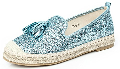 AgeeMi Shoes Women Espadrilles Slip On Flat Glitter Holiday Summer Pumps Shoes,EuD19 Light Blue 40