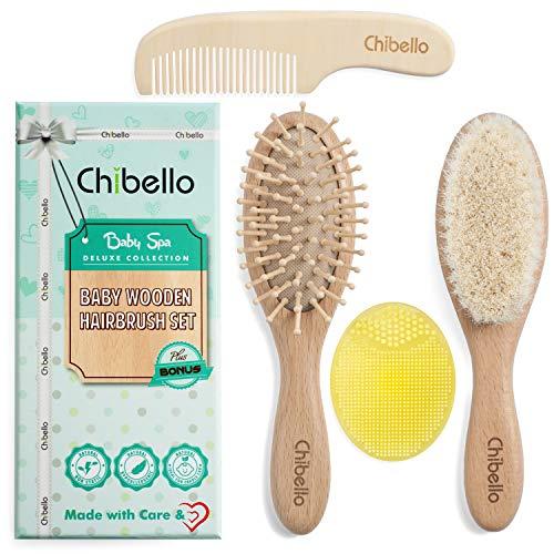 Chibello 4 Stück Holz Baby Haarbürste und Kamm-Set | natürliche Ziege Borsten Bürste | Holz Borstebürste