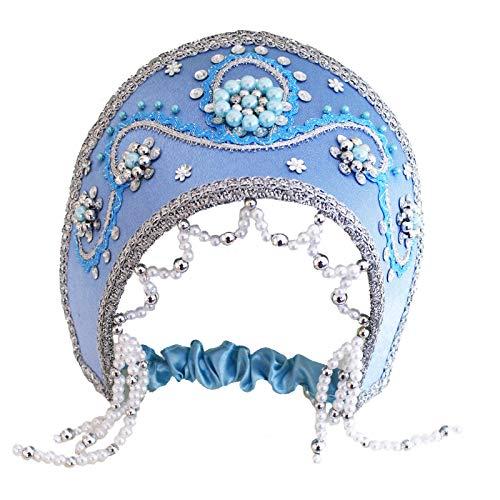 (russouvenir Kokoschnik, Russischer Kopfschmuck 'Snegurotschka', blau)