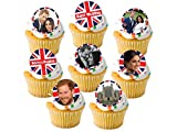 24 x The Royal Wedding Prince Harry and Meghan Markle STAND UP STANDUPS Street Tea Party Celebrations Union Jack UK British Flag Fairy Muffin Cup Cake Toppers Decoration Edible Rice Wafer Paper
