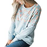 MOIKA DamenT-Shirt Tops Sweatshirt Herbst und Winter Mode Oberteile Shirt Plus Size Blumendruck Bluse Casual Tops Kapuzenpullover Hoodies Langarm Bluse Tops