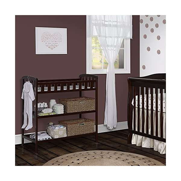 "Dream On Me Emily Changing Table, Espresso Dream On Me 1 inch changing pad 5 1/2"""" safety rail.Dimensions  36.5L x 20W x 39H inches 2 shelves below; Weight:19.5lbs 4"