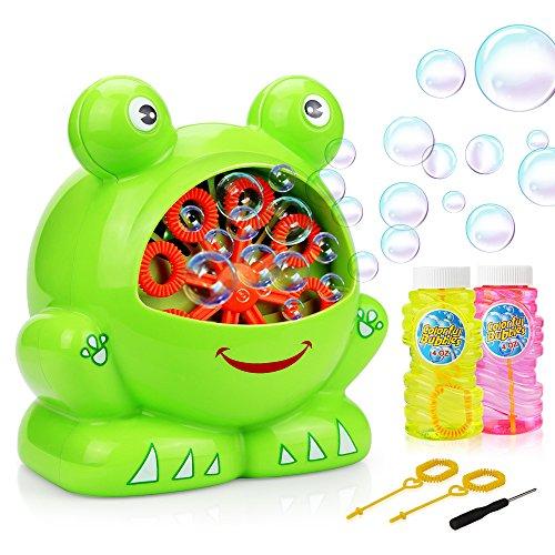 (EpochAir Seifenblasenmaschine, Bubble Machine mit 2 Flaschen Lösungen Mini Schraubendreher High Output Bubbles Indoor Outdoor-Spielzeug Garten Spiele für Jungen Mädchen Kinder)