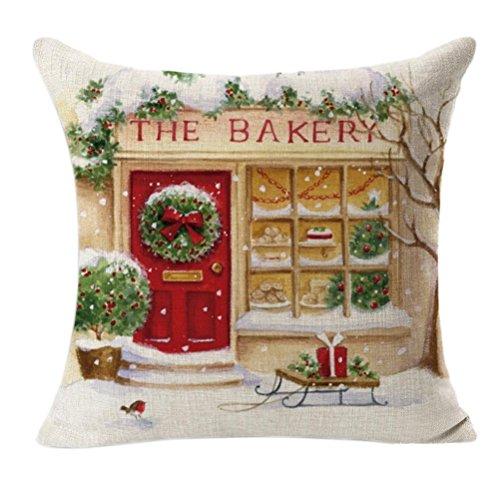 FEITONG Navidad de la vendimia Santa Claus Sofá Cama Decoración Amortiguador de la cubierta Funda de almohada