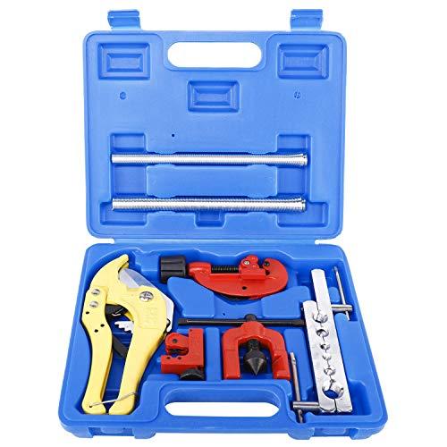 FreeTec Bördelgerät Bremsleitung Bördelwerkzeug mit Mini-und PVC Rohrschneider, Schlauchadapter und Rohrbiegegerät, 9-teilig
