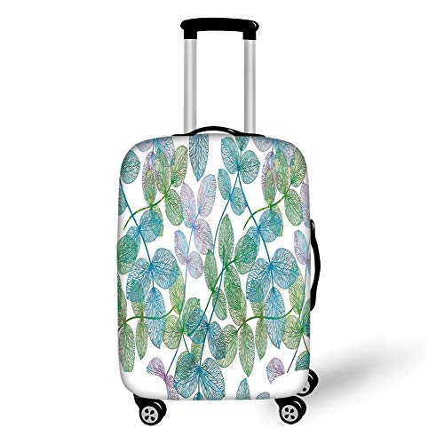 Travel Luggage Cover Suitcase Protector,Floral,Flowers Leaves Ivy Vein Like Rainbow Ombre Colored Art Print,Light Blue Fern Green Purple White,for Travel