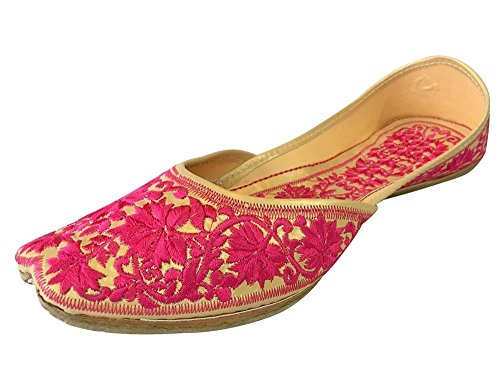 2ccf8c9504469 Step n Style Leather Women Traditional Punjabi US Jutti Indian Mojari  Khussa Flipflops Sandle Pink