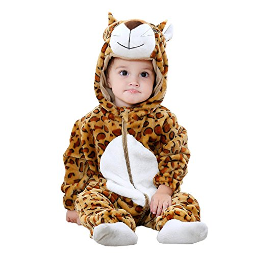 BabyPreg Unisex Baby Tier Halloween Kostüme Hooded Flanell Spielanzug Outfits (80cm / 6-12 Monate, Leopard) (9 12 Monate Halloween Kostüme)
