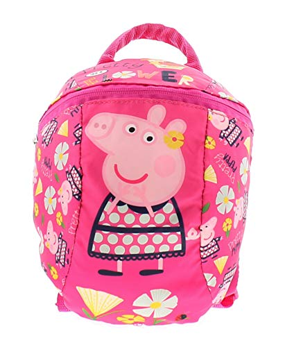 Peppa Pig Backpack with Reins - Toddler Baby Kids Girls Backpack with detachable safety reins for parental control
