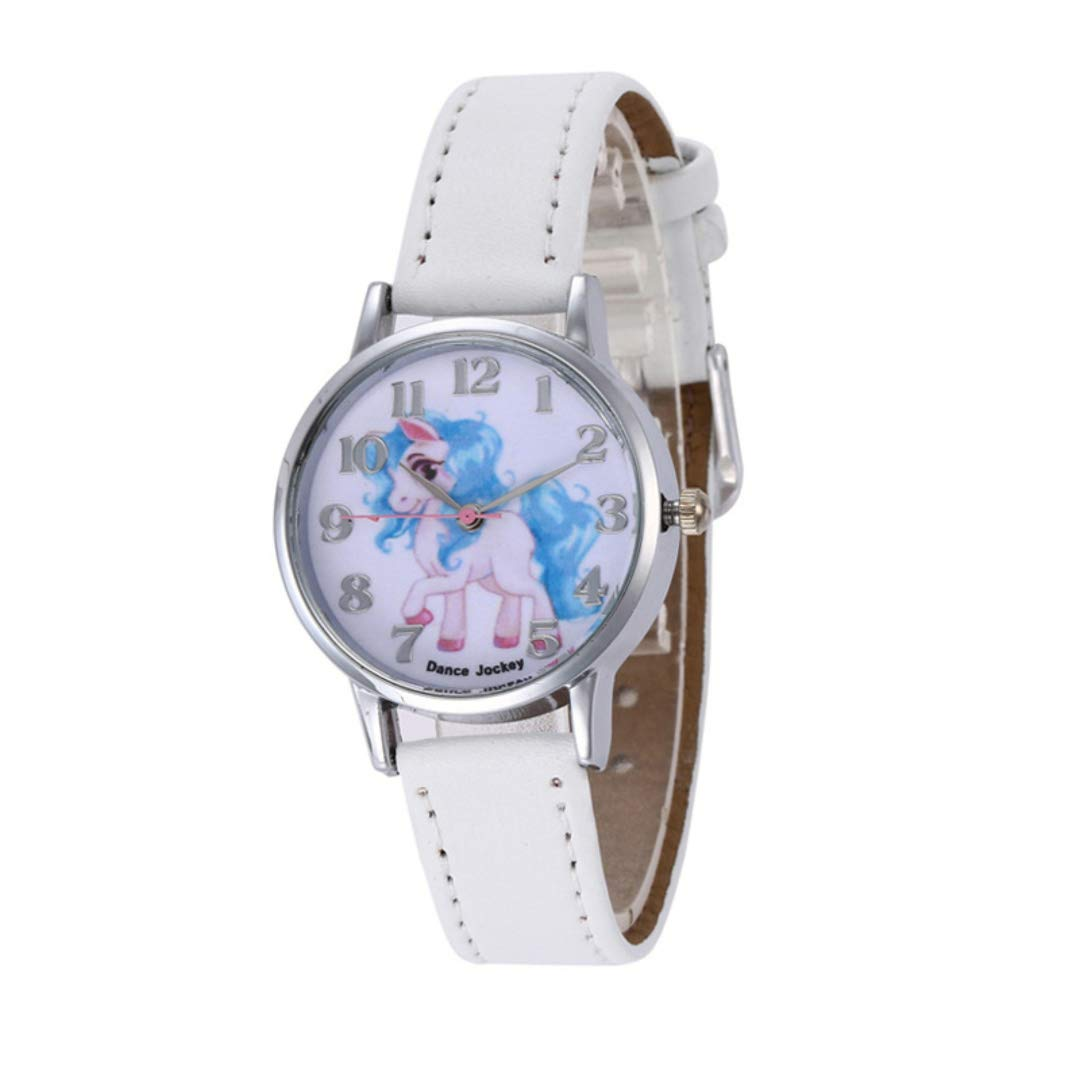 PPpanda Girls Unicorn Wrist Watch Leather Band Analog Display Quartz Watch Xmas Gift