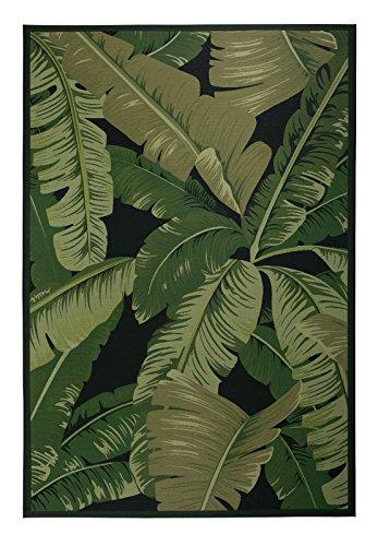 Luxor Living Design Teppich mit Blätter-Print | In- & Outdoor | Dschungel Style, Größe:80 x 150 cm, Farbe:Schwarz-Grün Palermo - Blätter Teppich