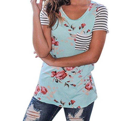 FNKDOR Damen Bluse Oberteil Shirt Blumenmuster Kurzarm Shirt (S, Blau) (Roses Guns T-shirt Shorts N)