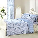 Vintage Shabby Chic toille blau Wende Bettwäsche Set Bettbezug Set Französisch, grau, Einzelbett