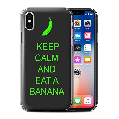 Stuff4 Gel TPU Hülle / Case für Apple iPhone X/10 / Einkaufen Gehen/Rosa Muster / Bleib Ruhig Kollektion Essen eine Banane/Grün