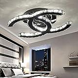28W LED Deckenleuchte Moderne Einfache Romantische Wohnzimmer Esszimmer K9 Crystal Klar Deckenlampe Elegante Edelstahl Spiegel Lampe Creative Studie Deckenbeleuchtung L53cm * W40cm (Warmes Licht 3000K)