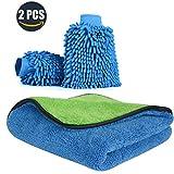 Xpassion 2 Stücke Wasserdicht Mikrofaser Waschhandschuh Auto Weich Autowaschhandschuh mit Reinigungstuch Trokentuch Poliertuch für Autowäsche Motorrad