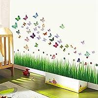 Walplus Wall Stickers Ladybird Grass Butterflies & 3D Butterflies Removable Self-Adhesive Mural Art Decals Vinyl Home Decoration DIY Living Bedroom Office Décor Wallpaper Kids Room Gift, Multi-colour