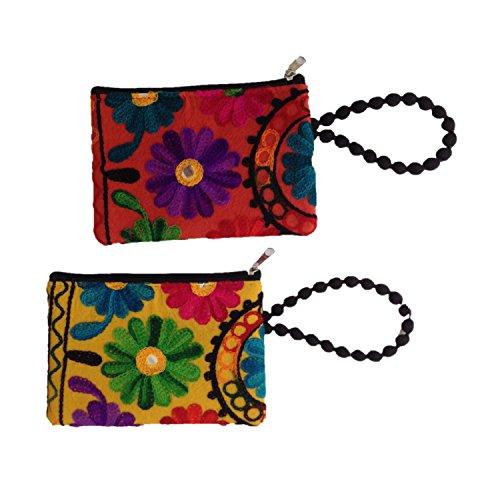 Rajasthan Floral Phulkari brodé Main Coton Poche pour Mobile, Coins (Set of 2)
