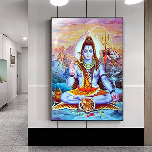 Knncch Shiva Lord Leinwand Gemälde An Der Wand Hindu Götter Wandkunst Leinwand Hinduismus Wand Poster Und Drucke Bilder Bild Wohnkultur-40X60Cm