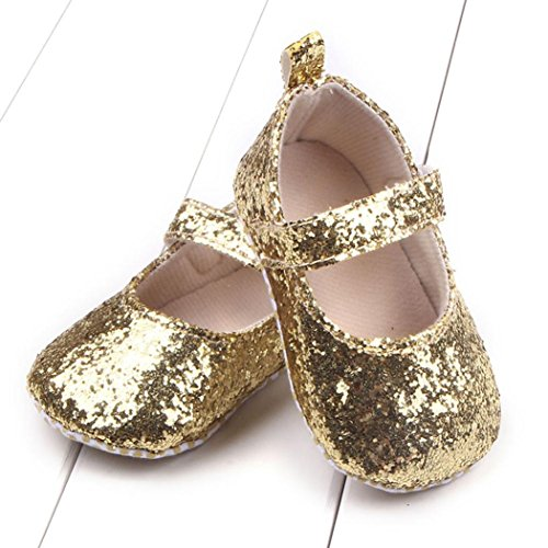 Tefamore Toddler Girl Soft Sole Crib Chaussures Sequins Sneaker Or