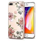 Spigen iPhone 8 Plus Hülle / 7 Plus Hülle, [Liquid Crystal Aquarelle] Blumenmuster TPU Silikon Handyhülle Transparent Schutzhülle für iPhone 7 Plus, iPhone 8 Plus Case - Rose