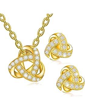 Dawanza - Gold überzogene Kristallschmucksache-Satz für Frauen - Geformtes Dreieck
