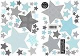 greenluup große, umweltfreundliche Wandsticker aus Vlies Sterne mit Mustern Hellblau Blau Grau Kinderzimmer Babyzimmer Baby Mädchen Junge (w17)