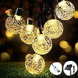 Catena Luminosa Solare, OMERIL 8M 50 LED Luce Stringa Solare con USB alimentata Aggiuntiva, IP65 Impermeabile Catena Luminosa di Crystal Globe per Esterno, Decorazioni di Natale, Feste, Cortili ecc