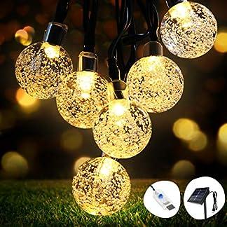 Guirnaldas Luces Exterior Solar, OMERIL Cadena de Luces USB Recargable con 50 LED Bola, 8 Modos de Luz y IP65 Impermeable, 8M Luz Navidad para Decoración, Hogar, Jardín, Arboles, Patio, Bodas, Fiesta