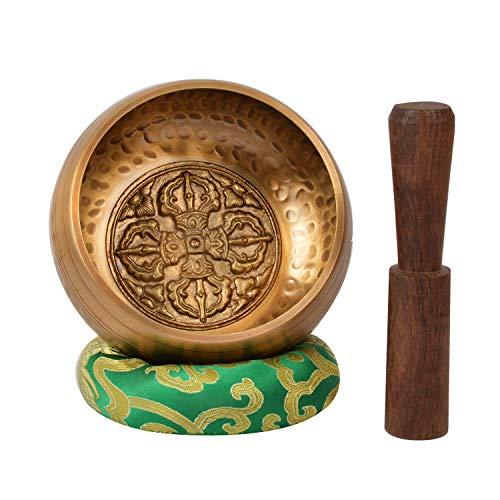 Tibetano mano batido meditación cantando cuenco doble