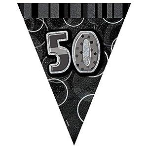 Unique Party- Banderines cumpleaños, Color negro, edad 50 (90805)
