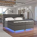 Moebel89 Boxspringbett Amadeo in grau mit LED, Farbe wie abgebildet 180cm x 200cm/Bett, Doppelbett, Hotelbett, Gästebett als Boxspringbett mit Federkern mit Schaumpolsterung