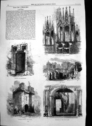 Château 1868 de Porte d'Entrée de Lancaster de Ruelle de Pont en Porte par original old antique victorian print