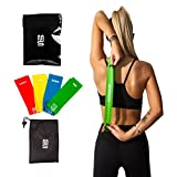 Superior Resistance Bands – Set of 4 Exercise Fitness Loops – Suitable for Men and Women – Ideal for Mobility Yoga Pilates or Physical Therapy – Bonus Workout Videos Online, Instructions & Carry Bag (4 x Resistance Bands For Women)