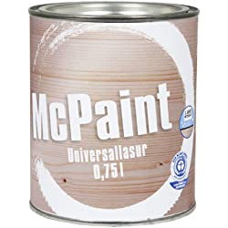 McPaint universale Holzlasur für Innen und Außen besonders UV beständig Farbton Teak 0,75L - Andere Farbtöne verfügbar
